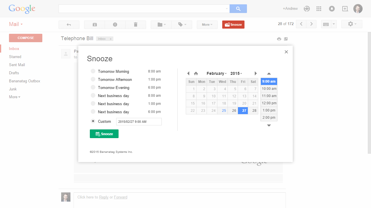 Email Reminders in Gmail with Snooze Screenshot