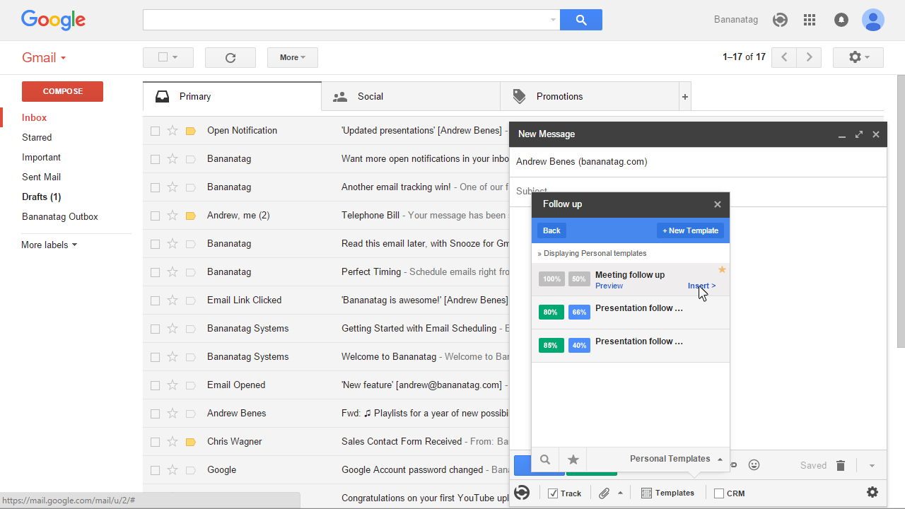 Email Templates statistics in Gmail