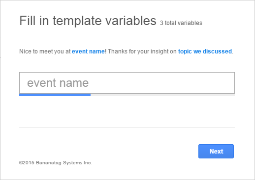 Email templates and custom variables