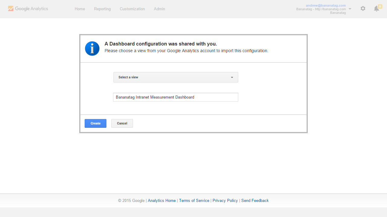 add a Google Analytics template to your account