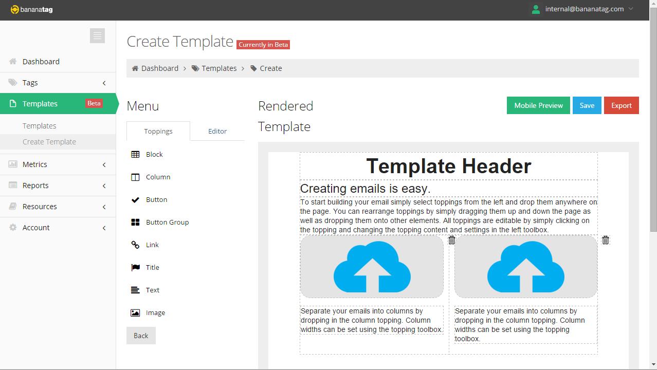 Bananatag internal email template builder