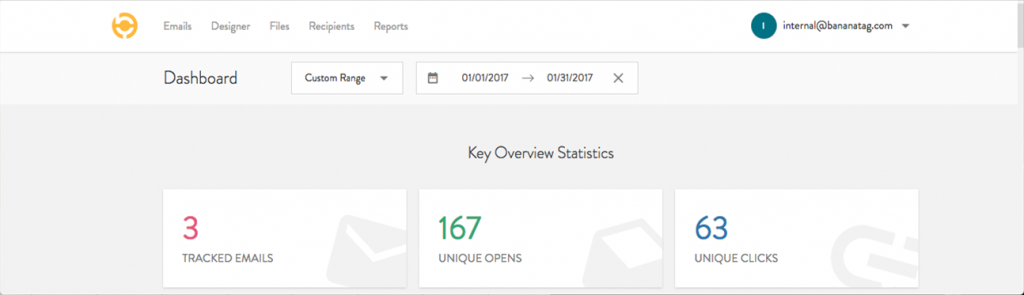 New bananatag account email tracking analytics dashboard