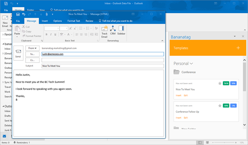 inserting email templates in outlook and tracking emails
