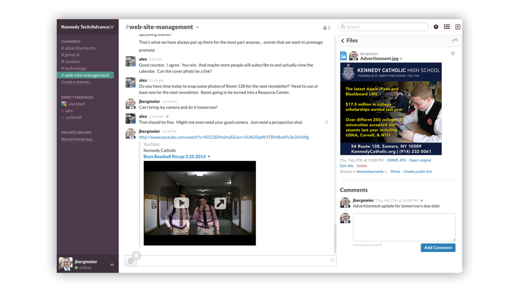 Slack screenshot as an internal comms enterprise social network