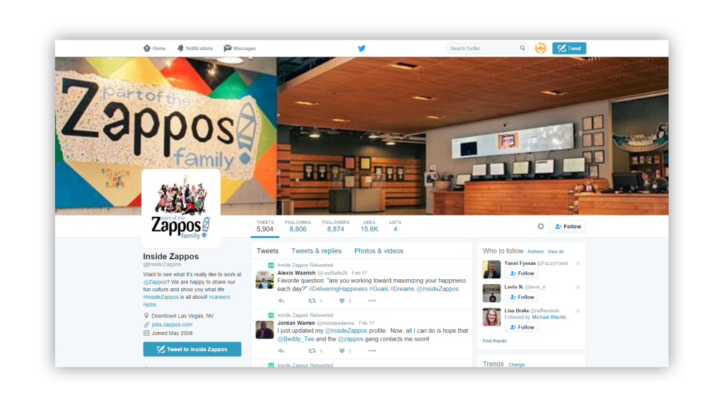 Twitter as an enterprise social network screenshot