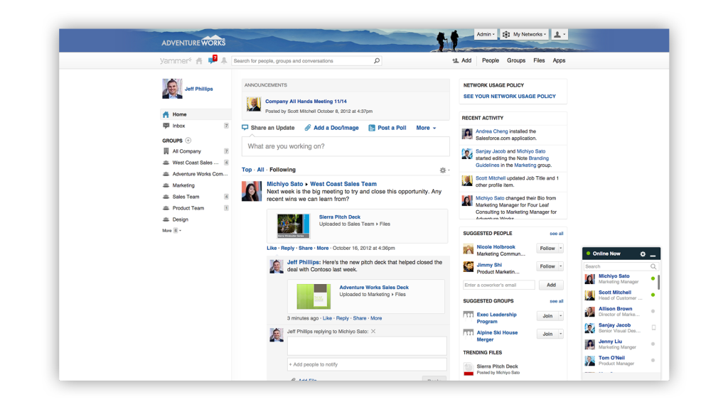 Yammer screenshot Enterprise Social Network for Internal Comms