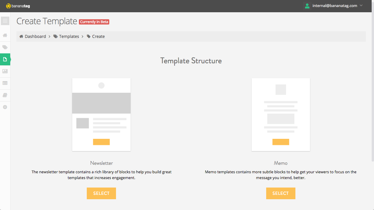 new the template designer internal communications blog internal email designer choose email type