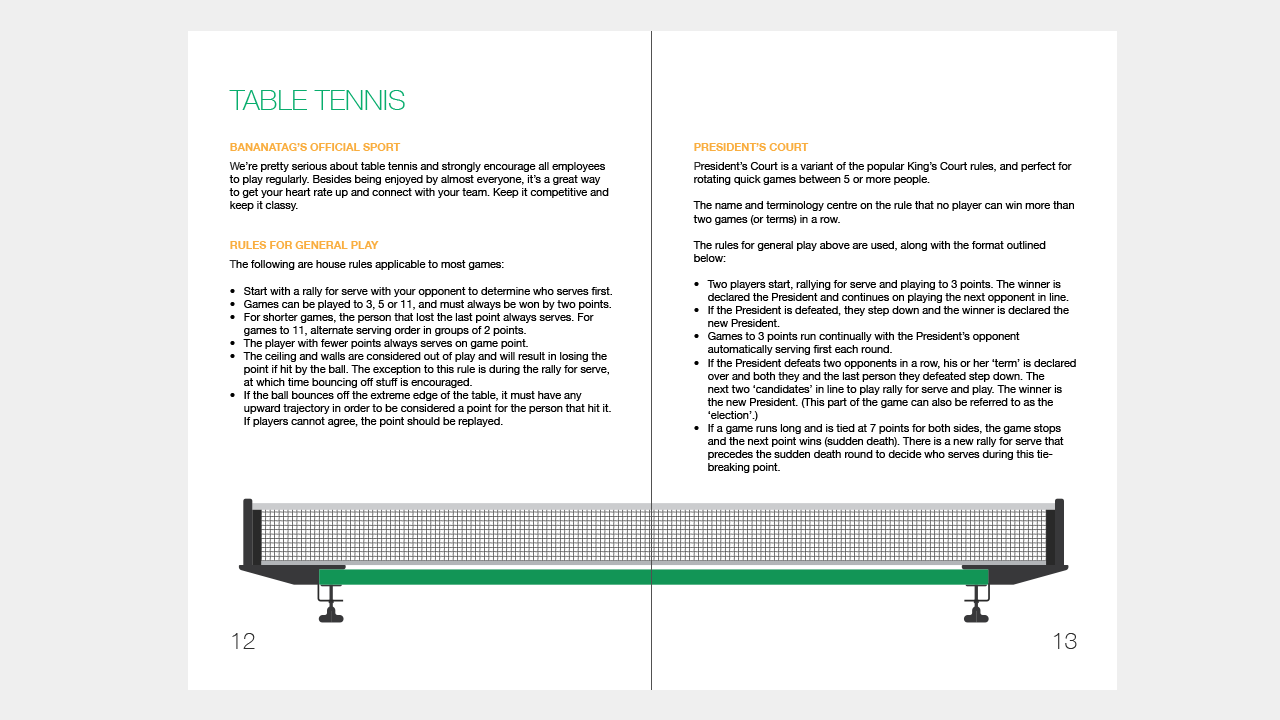 How to make a welcoming employee handbook internal for 10 table tennis rules