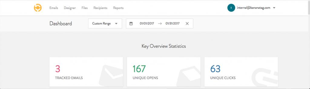 New bananatag account internal email tracking analytics dashboard