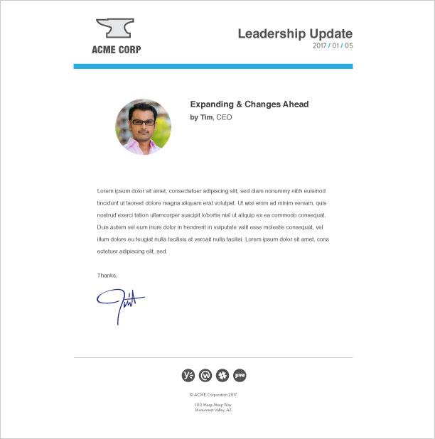leadership-update-personal update internal email template - bananatag