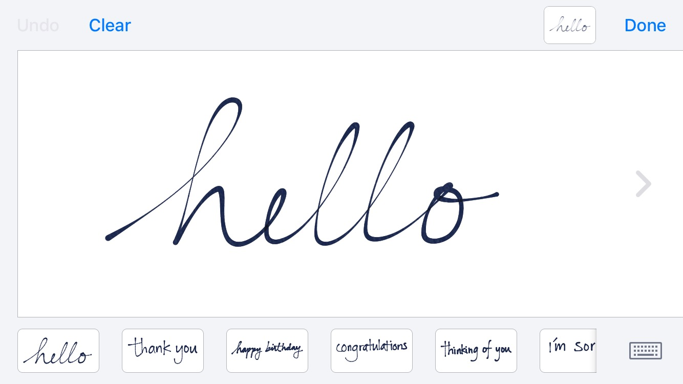 iOS handwritten iMessage interface for creating an email signature