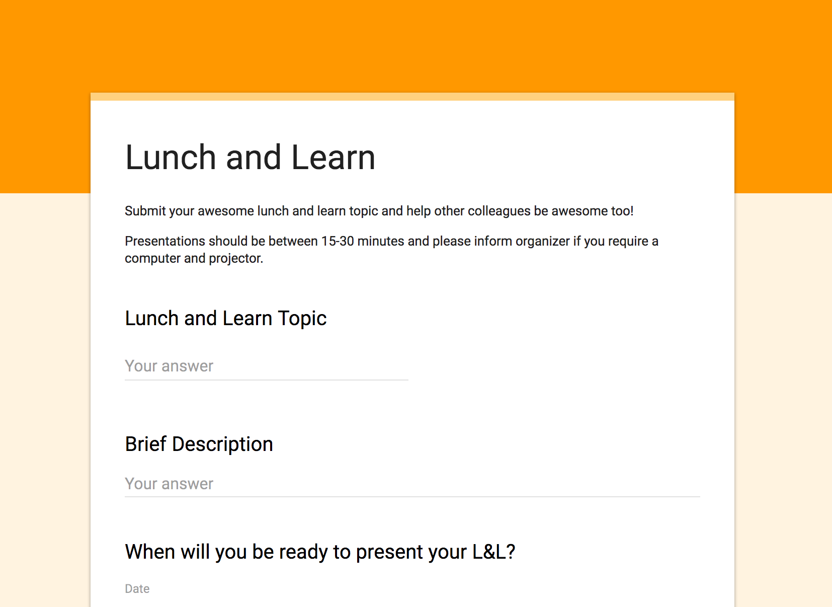 lunch and learn-bananatag- google form