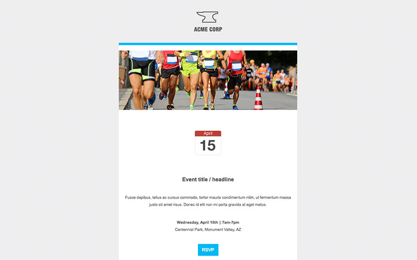 html employee event invitation internal comms email template