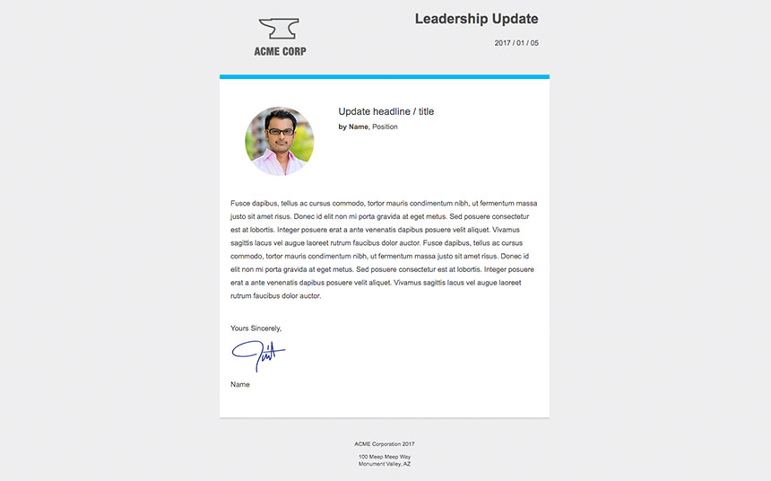 CEO update email template for internal communications
