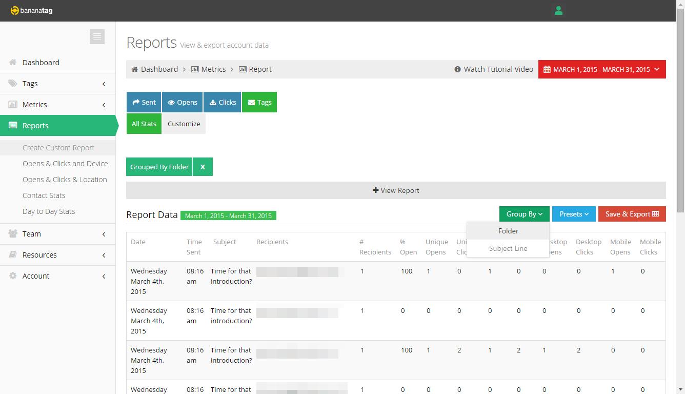 Testing Sales Email Templates using Folders | Bananatag